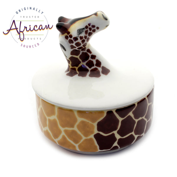 Ceramic 3D Trinket Box Round Giraffe
