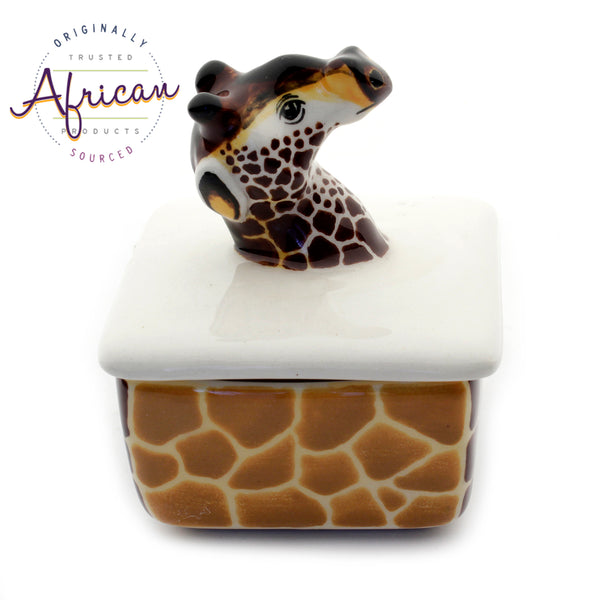 Ceramic 3D Trinket Box Square Giraffe