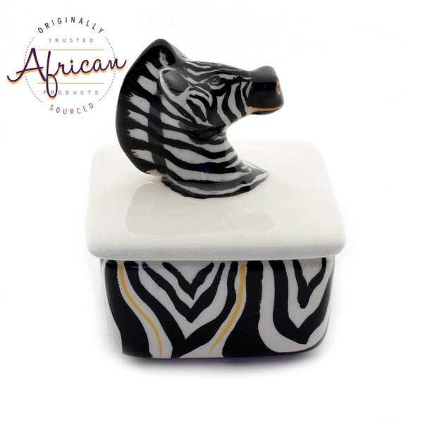Ceramic 3D Trinket Box Square Zebra