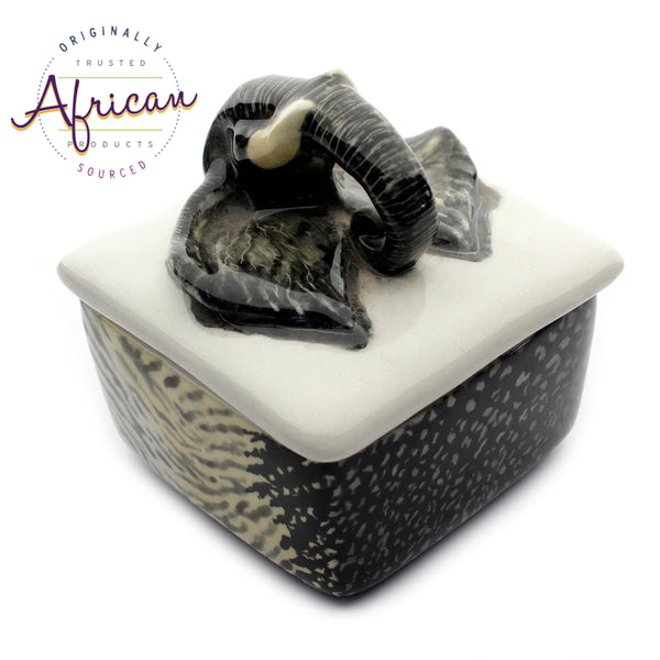 Ceramic 3D Trinket Box Square Elephant