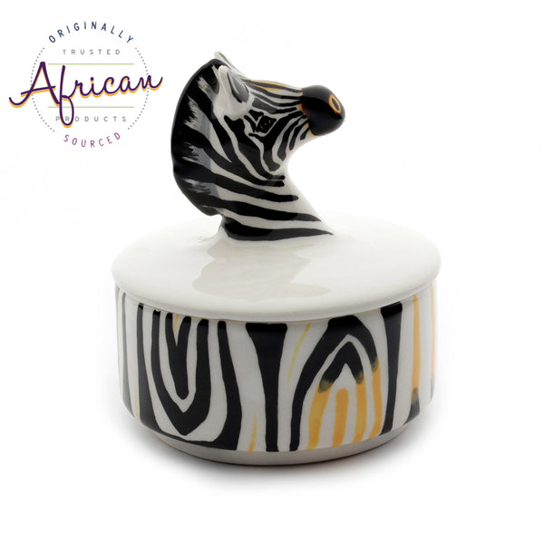 Ceramic 3D Trinket Box Round Zebra