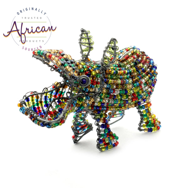 Beaded Mini-Animals - Hippo figurine