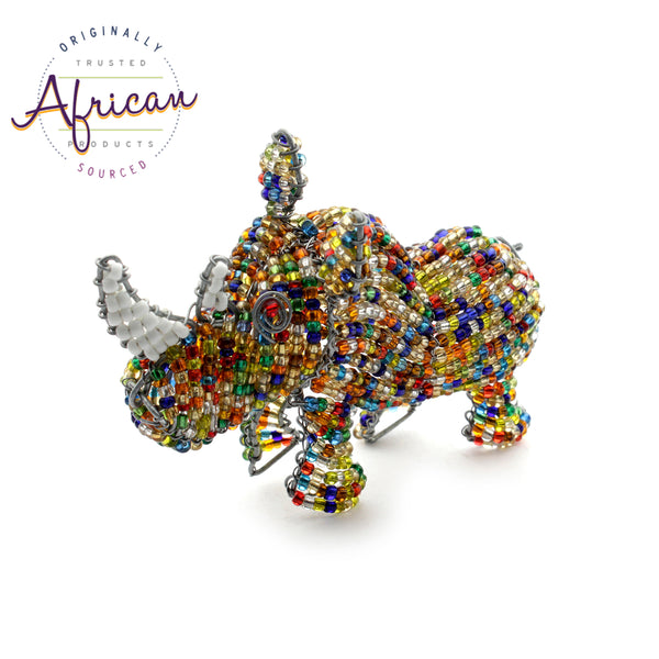 Beaded Mini-Animals - Rhino figurine