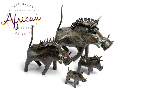 Recycled Metal Warthog Family Set of 4