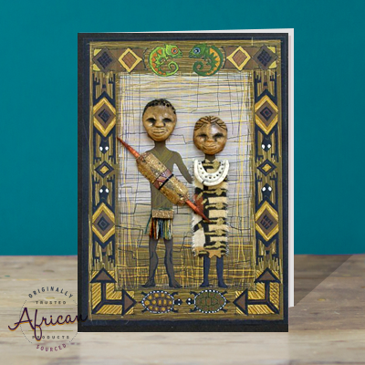 Hand Made African Greetings Card - Man and Wife