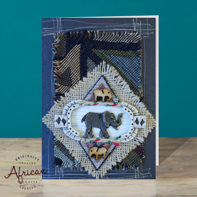 Hand Made African Greetings Card - Met Elephant