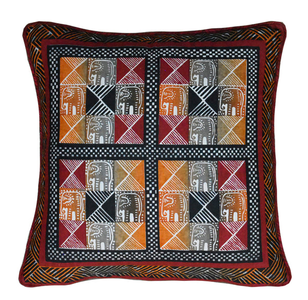 Kudhinda Cushion Cover 40x40cm – Elephant Square (Naturals)