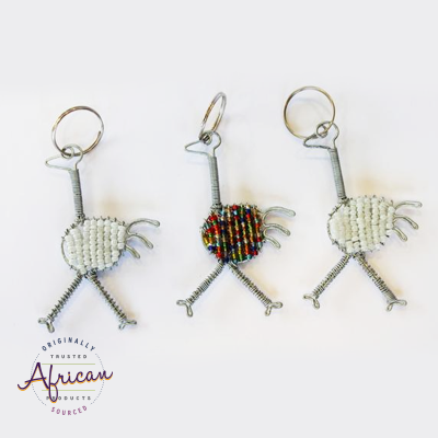 Beaded Key Chain - Ostrich