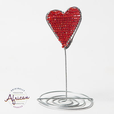 Valentine Beaded Heart Paper Stand