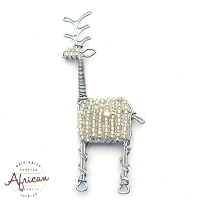 Beaded Christmas Decoration Reindeer (Silver)