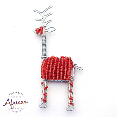 Beaded Christmas Decoration Reindeer (Red)
