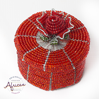 Valentine Beaded Round Trinket Box With Rose