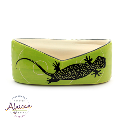 Ceramic Business Card Holder Green Lizard