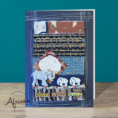 Hand Made African Greetings Card - Mother And Baby Elephants