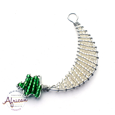 Beaded Christmas Decoration Moon and Star (Green/Silver)