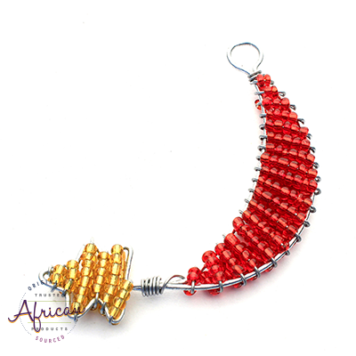 Beaded Christmas Decoration Moon and Star (Red/Gold)