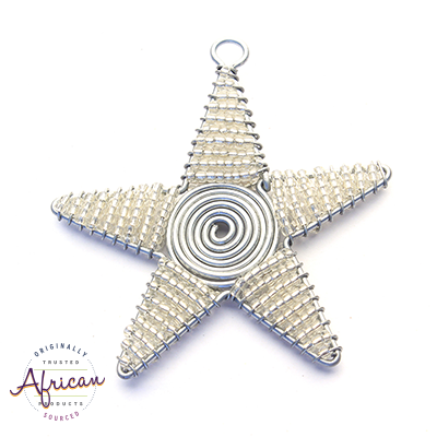 Beaded Christmas Star Large (Silver)