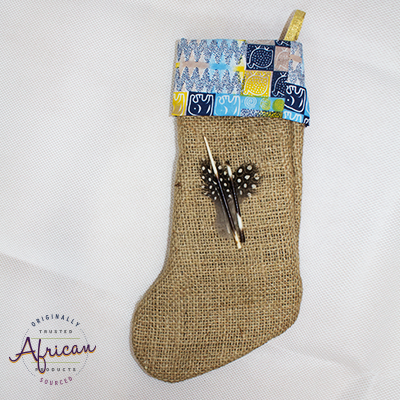 African Hessian Christmas Stocking Pattern 1