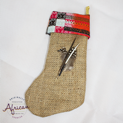 African Hessian Christmas Stocking Pattern 2