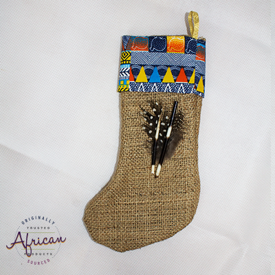 African Hessian Christmas Stocking Pattern 5