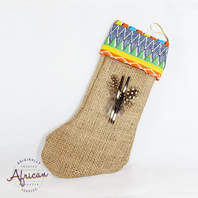 African Hessian Christmas Stocking Pattern 6