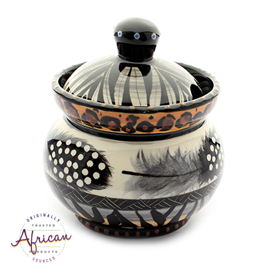 Ceramic Sugar Bowl Tribal