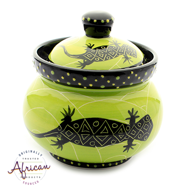 Ceramic Sugar Bowl Green Lizard