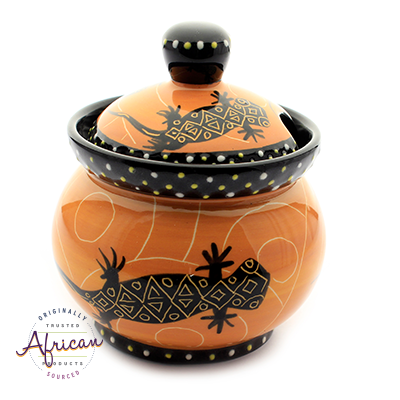 Ceramic Sugar Bowl Orange Lizard