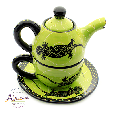 Ceramic Kerry Tea Set Green Lizard