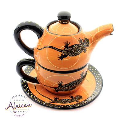Ceramic Kerry Tea Set Orange Lizard
