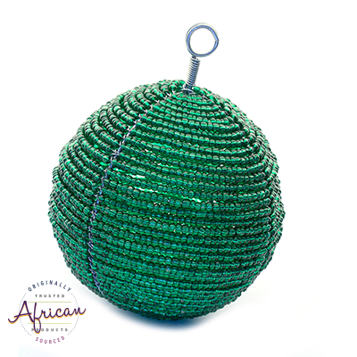 Beaded Large Christmas Balls (Green)