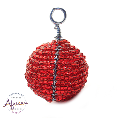 Beaded Christmas Ball Small (Red)