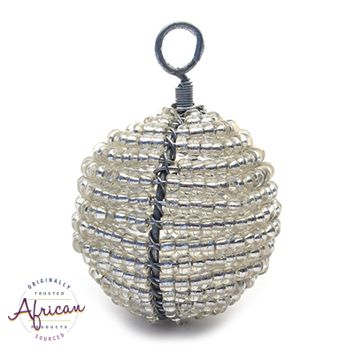 Beaded Christmas Ball Small (Silver)
