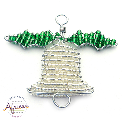 Beaded Christmas Bells (Silver and Green)