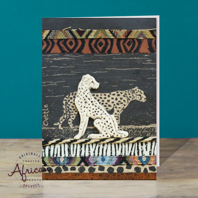 Hand Made African Greetings Card - Cheetah with keyring