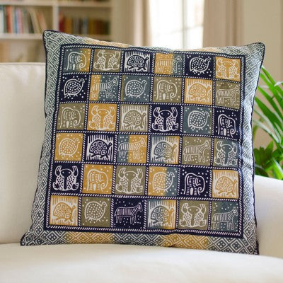 Kudhinda Cushion Cover 55x55cm – African Animal (Blue Steel)