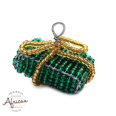 Beaded Christmas Present Decoration (Green/Gold)