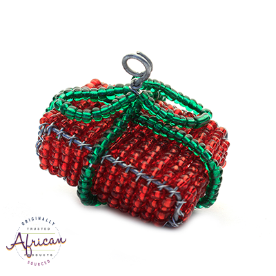 Beaded Christmas Present Decoration (Red/Green)