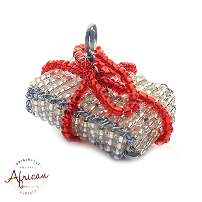 Beaded Christmas Present Decoration (Silver/Red)