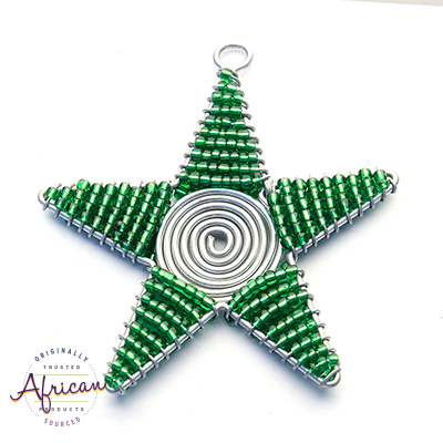 Beaded Christmas Star Large (Green)