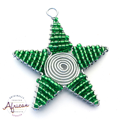 Beaded Christmas Star Small (Green)