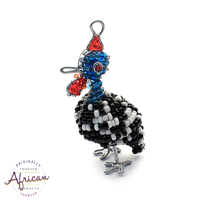 Beaded Key Chain - 3D Guinea Fowl
