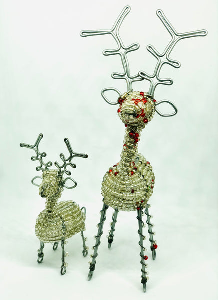Beaded Christmas Mini 3D Reindeer - Silver/White