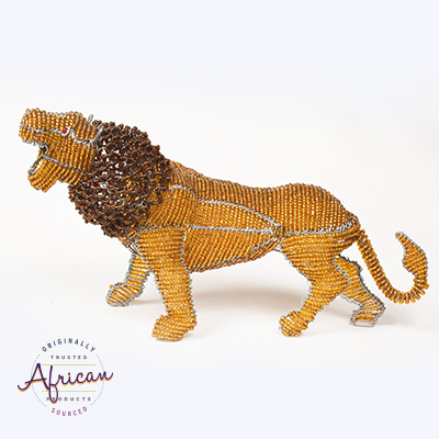 Beaded Large Lion Figurine