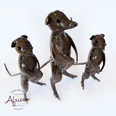 Recycled Metal Meerkat Family Set of 3