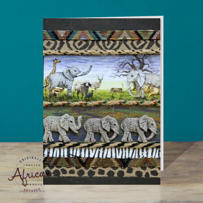 Hand Made African Greetings Card - Noah`s Pets