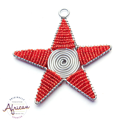Beaded Christmas Star Large (Red)