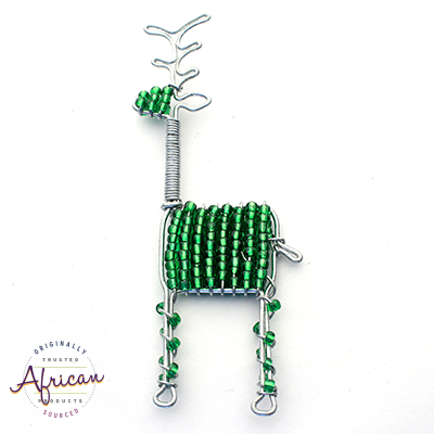Beaded Christmas Decoration Reindeer (Green)