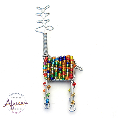 Beaded Christmas Decoration Reindeer (Multi Coloured)