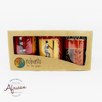 3 x Short Cylinder Candles in Recycled Gift Box - Damisi